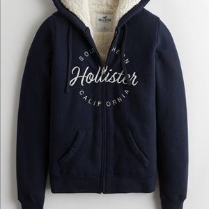 SHERPA LINED FULL ZIP LOGO HOODIE NAVY SIZE LARGE